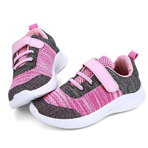 nerteo Girls Walking Shoes, Athletic Running Shoes Kids, Fashin Sneakers for School, Sports Dark Grey/Pink 1 M US Little Kid