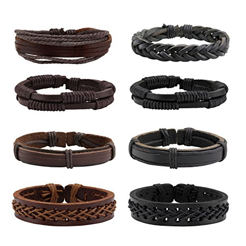(Milakoo 8 Pcs Braided Leather Bracelet for Men Women Wooden Beaded Bracelets Wrap Adjustable )