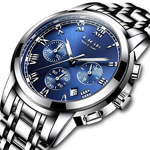 Dress Sport Watch Chronograph - Men's Watches Fashion Chronograph Waterproof Quartz Watches Luxury Brand LIGE Stainless Steel Strap Business Dress Wristwatches