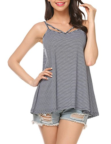 Easther Womens Cami Tank Top Strappy Sleeveless T Shirt Casual Loose Flare Cotton Striped Vest Blouse