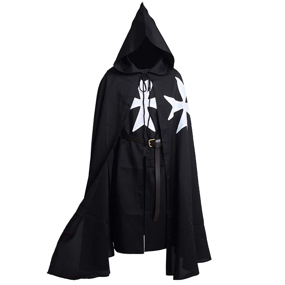 Blessume Médiéval Hospitalier Chevaliers Costume Tunique Avec Manteau & Ceinture Noir 2