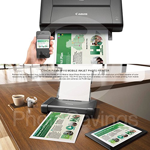 CANON PIXMA iP110 Wireless Mobile InkJet Printer w/ With Airprint(TM) And Cloud Compatible and Accessory Bundle with 6-Outlet Strip + USB Cable + Fibertique Cloth by Photo Savings (Image #1)