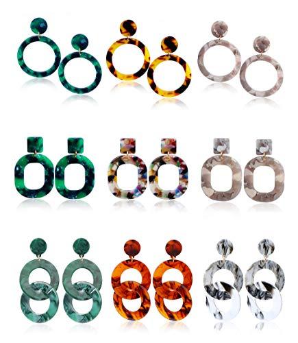 Finrezio 9Pairs Mottled Acrylic Dangle Drop Earrings for Women Girl Resin Hoop Earrings Bohemian Statement Earrings Fashion Jewelry
