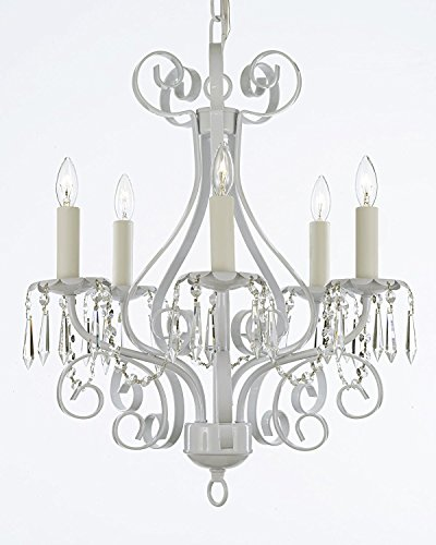 Wrought Iron Crystal Chandelier Lighting Country French White , 5 Light , , Ceiling Fixture