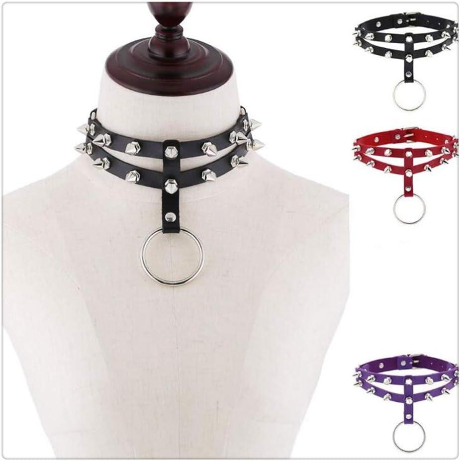 Z-one 1 Collar de cuero Soft Rivet Discoteca Estilo PU Cuero Gargantilla Collar con anillo grande (Negro, rojo y p¨²rpura)