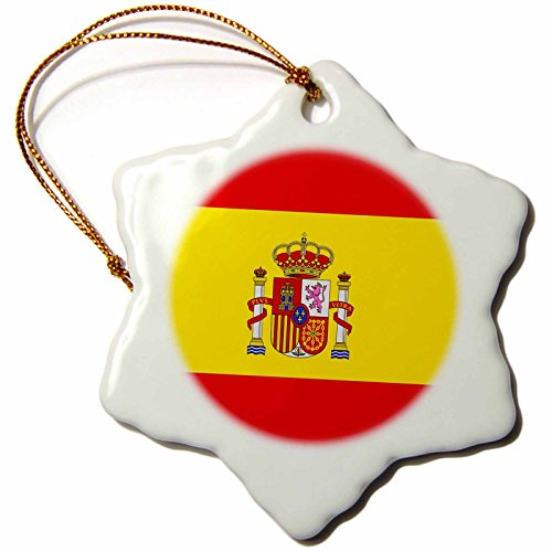 3drose Spain Flag Snowflake Porcelain Ornament, 3-Inch by 3dRose