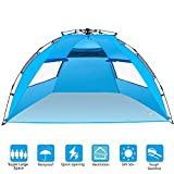 BATTOP 4 Person Instant Beach Tent Sun Shelter - Easy Pop Up Sun Shade for Beach - Deluxe Large for Family