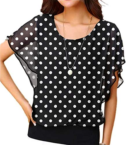 Viishow Women Polka Dot Chiffon Blouse Round Neck Short Sleeve Top Shirts Black Dot 3XL