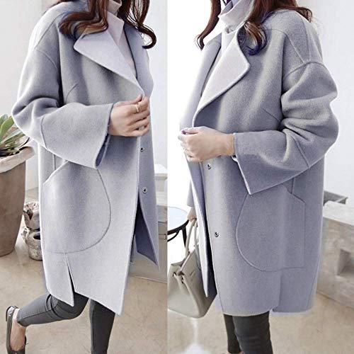 Parka color Escudo Chaqueta De Lana Outwear Las Mujer Abrigo Invierno Zhrui Tamaño Señoras Trench Casual Medium Gris dgYwOUnqwx