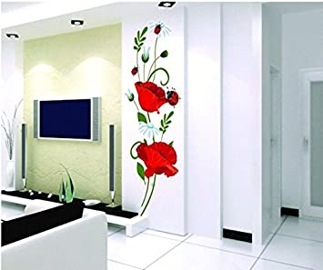 Mohnblumen Wandtattoo Wandaufkleber Abziehbilder Wohnkultur Stilvolle Moderne Blumen Living Schlafzimmer Dekoration Kuche Amazon De Baby