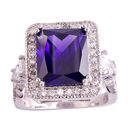 Psiroy 925 Sterling Silver Created Amethyst Filled Halo Anniversary Statement Ring Size 11