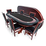 BBO Poker Rockwell Poker Table for 10 Players with Speed Cloth Playing Surface 93x45-Inch Oval, Includes Matching Dining Top with 6 Dining Chairs