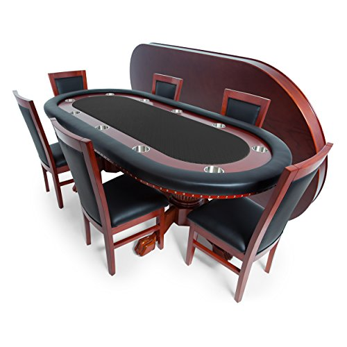 (BBO Poker Rockwell Poker Table for 10 Players with Black Speed Cloth Playing Surface, 94 x 44-Inch Oval, Includes Matching Dining Top with 6 Dining Chairs)