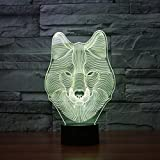 3D Illusion Lamp Gawell Wolf Visual Effect Night Light 7 Colors Glows With Smart Touch Switch USB Cable Creative Gift Toys Decorations