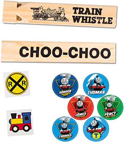 Railroad Trains Pack - Wooden Whistle, 2 Tattoos & Thomas the Train Stickers (Bulk Train Whistles compare prices)