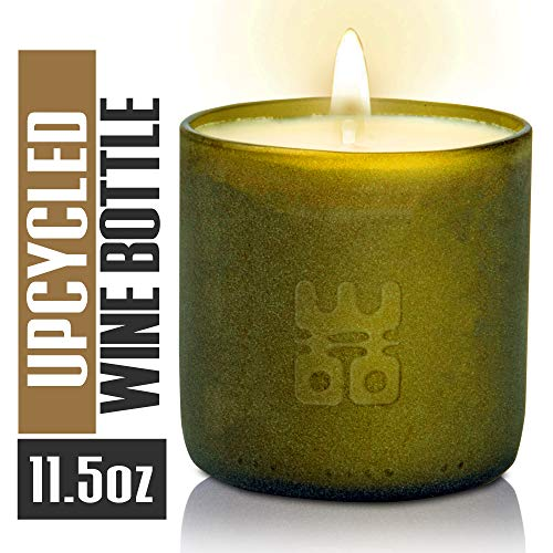 WOO Stress Relieving Tranquility Fragrance Handmade Upcycled Wine Bottle Lucky Candle 50 Hour Burn