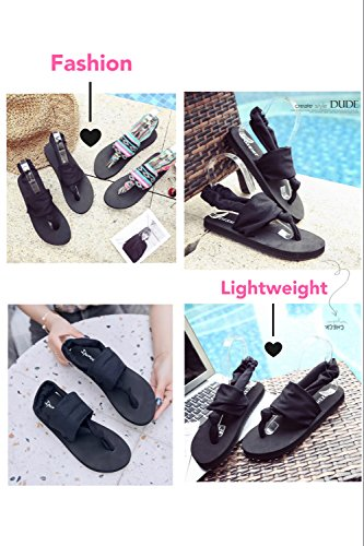 Sandals Womens Yoga Flat Flip Black Donppa Flops Sling O4REw