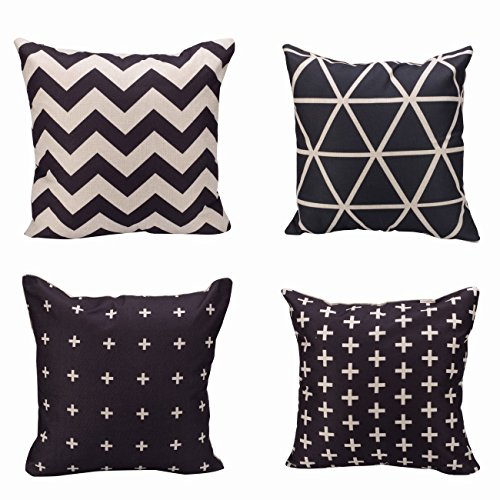 Black And White Sign (Alicemall Black and White Series 4 Pieces Throw Pillow Covers Geometric Style Decorative Sofa Couch Cushion Covers, 18 x 18 inch, NO Inserts (45cm x 45cm) (1 Triangle, 1 Chevron, 2 Plus Sign))