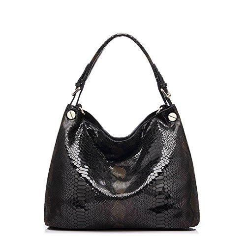 shoulder bag fashion bags large female Genuine bag serpentine leather tote leather hobos handbags prints women Black tqx6wPqv