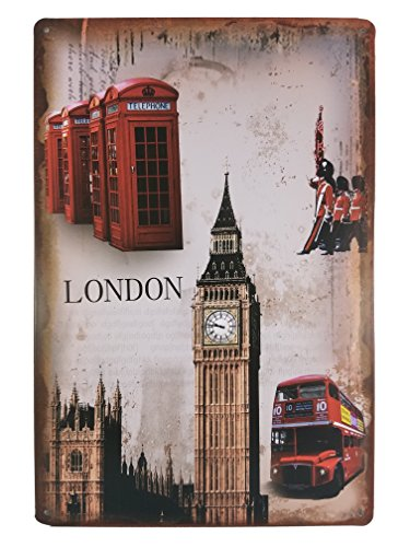 Souvenir Wall Plate (London Vintage Metal Plate Frame Décor England Souvenir Wall Arts Home Decorations Office Bedroom Living Room Wedding Party Modern Gifts (Big Ben))