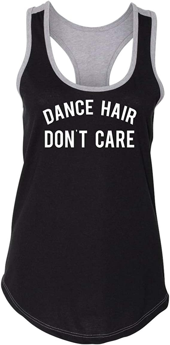Comical Shirt Ladies Colorblock Tank Top Dance Hair Don't Care Black/Heather Grey XS
