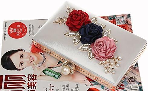keland Sac de soir/ée pour femme en satin /à fleurs avec pochette en perles et portefeuille
