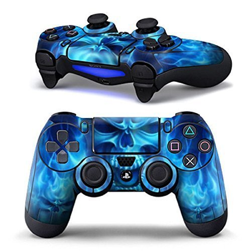vinyl-skin-cover-sticker-decal-blue-flame-skull-skin-for-ps4-controller