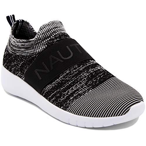 Nautica Women Fashion Slip-On Sneaker Jogger Comfort Running Shoes-West Deck ELS-Black-9.5 (Nautica Padding)