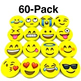 #10: OHill Pack of 60 Pack Emoji Pencil Erasers 16 Emoticons Novelty Erasers for Party Favors School Classroom Prizes Rewards