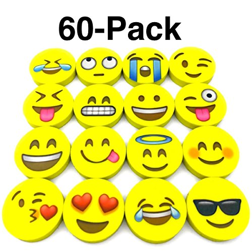OHill Pack of 60 Pack Emoji Pencil Erasers 16 Emoticons Novelty Erasers for Party Favors School Classroom Prizes - Box Eraser