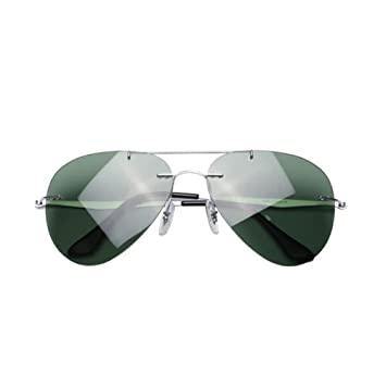 HONEY Gafas de sol polarizadas de aleación de titanio puro - Ligeras sin marco - Lentes a prueba de explosiones - Gafas de conducción para hombres (Color ...