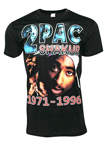 FLEA ALLEY Mens Vintage Hip Hop Printed T-Shirts Tupac Shakur 1971-1996(L, Black) by FLEA ALLEY