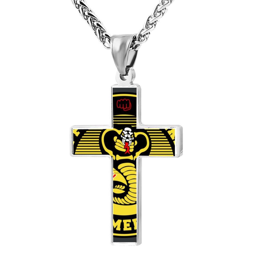 Kenlove87 Patriotic Cross Cobra Kai Religious Lord'S Zinc Jewelry Pendant Necklace