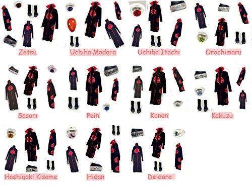 Deidara Akatsuki Costume (Naruto Akatsuki cosplay costume Madara Itachi Hidan Hoshigaki Kisame Deidara)