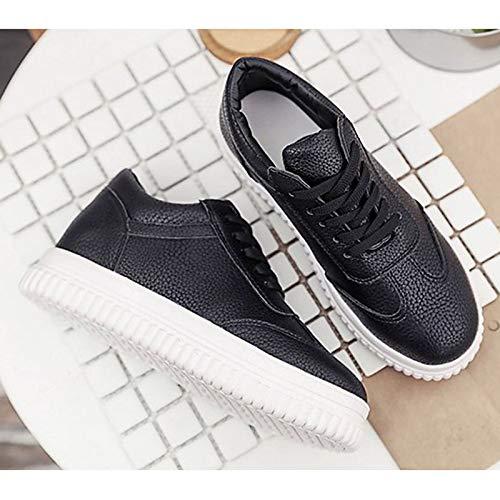Fall Flat Toe PU Comfort Poliuretano de Heel ZHZNVX Zapatos White Round Mujer Negro Blanco Sneakers 8wq1WRX