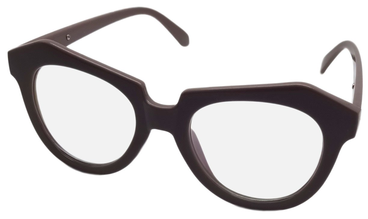NEW LARGE CLEAR LENS GEEK FANCY DRESS GLASSES RETRO BROWN FRAME CL2 DW