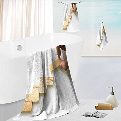 Leighhome Athens 100% Cotton hand aranging wood block stacking as step stair business concept for growth success process Beautiful 3 Piece Towel Set
