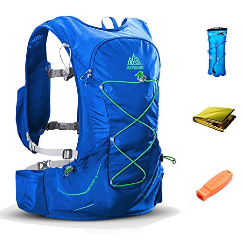 AONIJIE 15L Outdoor Hydration Pack Ultra Trail Lightweight Running Vest Marathon Backpack with 3L Water Bladder, First Aid Blanket, Whistle for Survival ()