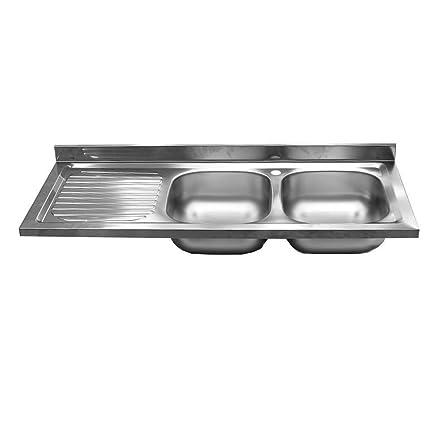 Lavello lavandino cucina acciaio INOX 2 vasche dx scolapiatti ...