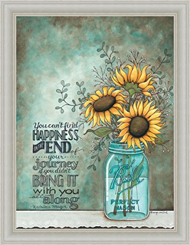 All Along Tonya Crawford Happiness Quote Sunflowers