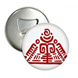 Totems Mexican Pyramid Ancient Civilization Round Bottle Opener Refrigerator Magnet Pins Badge Button Gift 3pcs