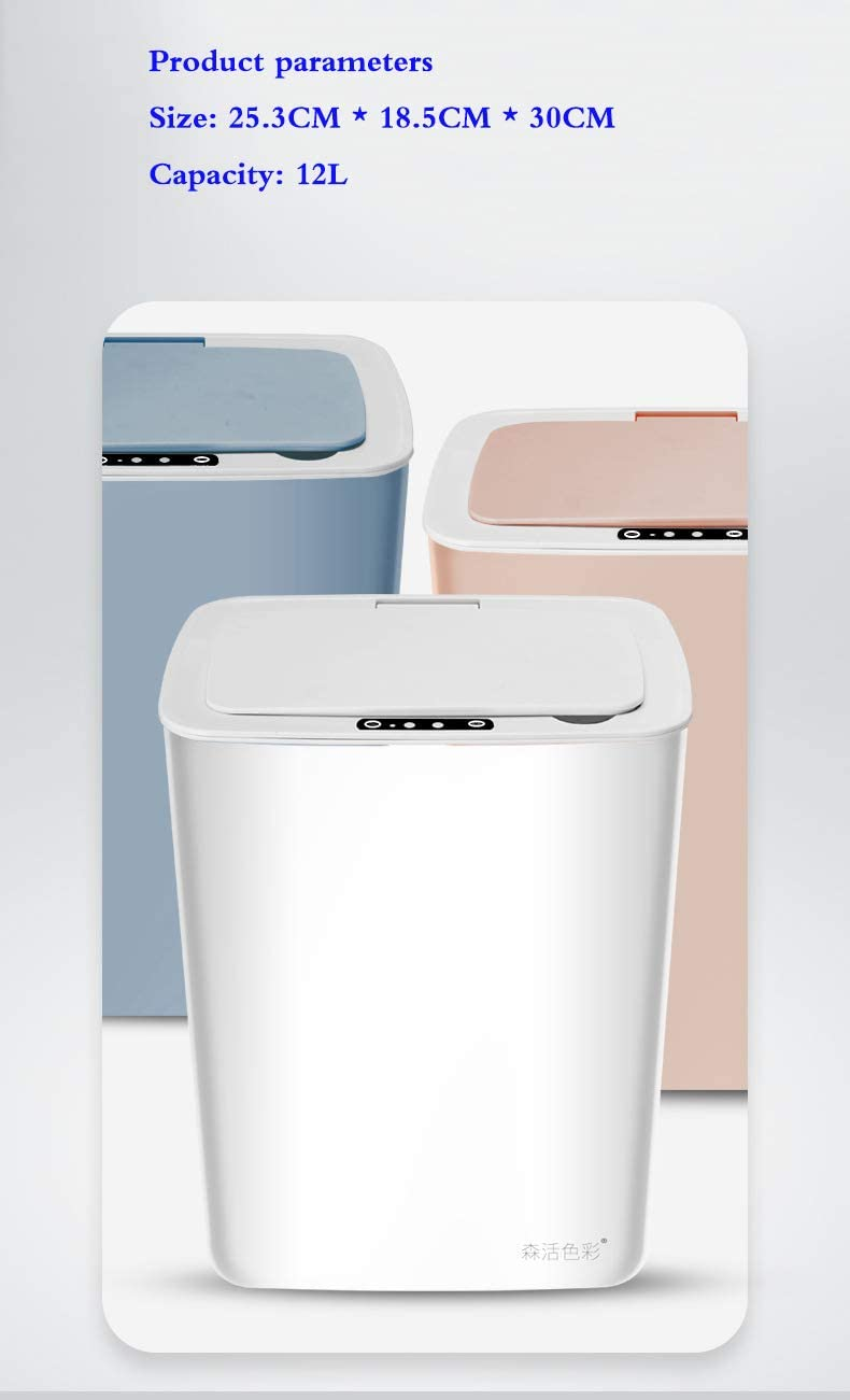 Xiayanmei Smart trash bin home silent bedroom bathroom kitchen creative automatic induction storage bucket battery 12L,White