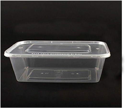 Lonchera desechable 300 Cajas de Comida rápida para Llevar Caja de Embalaje protección Ambiental Caja de Almacenamiento Cuadrada de plástico Transparente de Color Transparente, Negro 1250ML SPFOZ: Amazon.es: Hogar