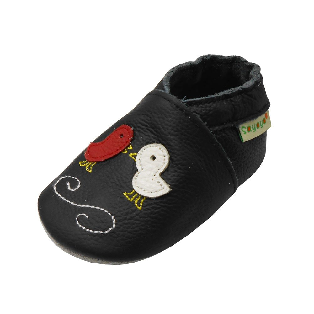 Sayoyo Baby Shoes Soft Leather Sole Infant Shoes Toddler Prewalker Shoes with Little Birds Black A1156