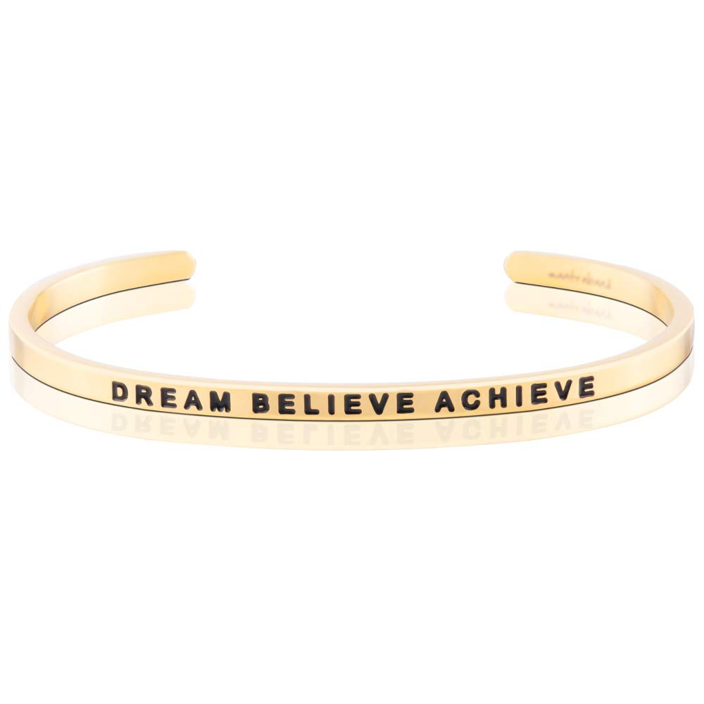 MantraBand Bracelet - Dream Believe Achieve - Inspirational Engraved Adjustable Mantra Band Cuff Bracelet - Yellow Gold - Gifts for Women (Yellow) by MantraBand