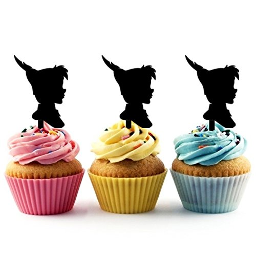 TA0026 Peter Pan Silhouette Party Wedding Birthday Acrylic Cupcake Toppers Decor 10 -
