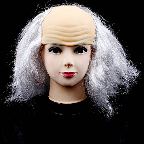 CHOP MALL® Happy Halloween Bald Old Man Wig Head Mask Costume Party Novelty Latex Mask ()