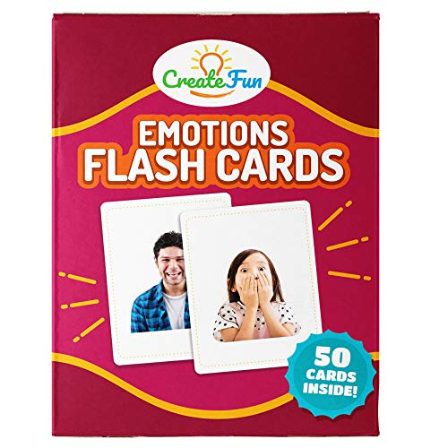 CreateFun Feelings and Emotions Flash Cards | 50 Emotion Development Educational Photo Cards | 7 Starter Learning Games for Your Classroom, Speech Therapy Materials and ESL Teaching ()