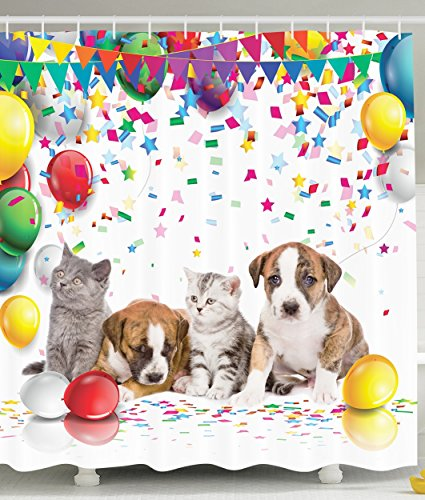 Party Dogs and Cats Celebration Balloons - Party Shower Curtain Shopping Results