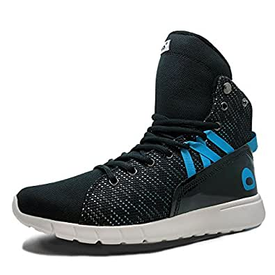 Heyday Footwear Men's Mission Trainer Black Fabric and Leather High Top Bodybuilding Sneaker - Size 5 D(M) US